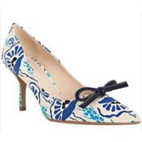 Prada royal blue floral satin bow detail pumps,$250,cheap prada,shoes,prada