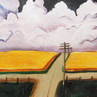 "Original 9x12 oil painting. ""Wheat Fields"" contemporary and affordable art by Brandy Cattoor. skyscape or landscape"