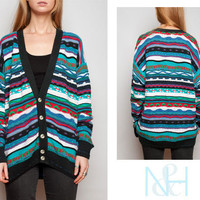 Vintage 90's Multicolored Patterned Cardigan with Black Trim