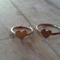 14K Gold Filled Hammered Heart Ring