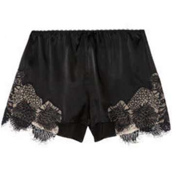 Julien Macdonald | Lace-trimmed stretch silk-satin shorts | NET-A-PORTER.COM