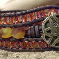 Cantaloupe Beaded Leather Cuff Bracelet, Beaded Leather Wrap Bracelet, Bohemian, Boho