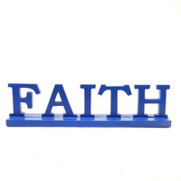 vintage wood sign, faith, christian, religious, god, typography, cobalt blue, upcycled home decor, signs, letters, wood accessories