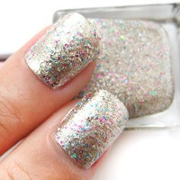 Hidden Gems - Gold Base with Pink and Blue Glitter Nail Polish Lacquer 16ml from nailartsupplies
