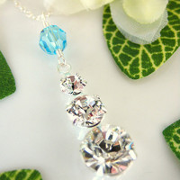 Trinity Swarovski crystal aquamarine sterling silver necklace