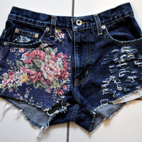 Floral Upcycled High Waisted Destroyed Shorts