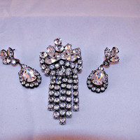 Brilliant Rhinestone Door Knocker Brooch & Earrings