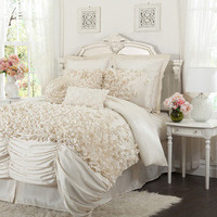 L&#x27;Amour Eternel Lucia Ivory 4-piece Comforter Set | Overstock.com