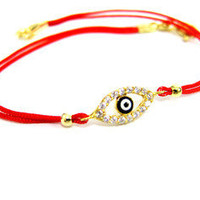 KARA ACKERMAN ? <i> GemGirls <i> Mini Evil Eye Bracelet on Red Silk Cord