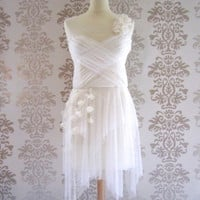 RACHEL White Cream Floral Polka Dot Sweetheart Romantic Short Handmade Gown / Wedding Reception Dress Custom Size