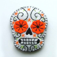 Mexican Day of the Dead Felt Brooch Calaveras