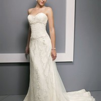 Elegant Mermaid Sweetheart Court Train Lace Sleeves Wedding Dress-$418.99-ReliableTrustStore.com