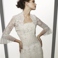Stunning A Line Straps Court Train Lace Sleeves Wedding Dress-$418.99-ReliableTrustStore.com