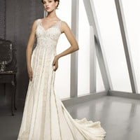 Gorgeous A Line Straps Court Train Chiffon Sleeveless Wedding Dress-$418.99-ReliableTrustStore.com
