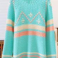 Green Geometric Pattern Round Neck Long Sleeve Sweater S0063