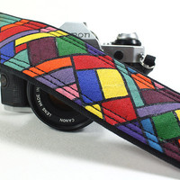 Camera Strap, Handpainted, Geometric, OOAK, dSLR or SLR,