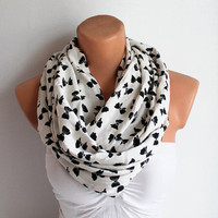 Infinity Scarf - Loop Scarf - Circle Scarf - white Scarf - Cotton scaf Cowl Scarf with tie pattern