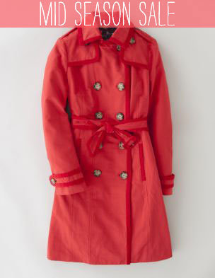 Velvet Trim Trench WE313 Coats at Boden