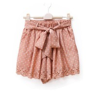Spot Chiffon Tie Skorts with Cutwork Hemline