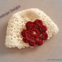 Crochet Beanie hat Ivory/white Red for Baby Newborn Toddler Christmas photoprop Dewdrops Designs
