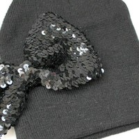 Sequinned Bow Tie Beanie
