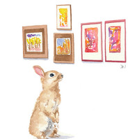 Bunny Rabbit Watercolour - Art Gallery, Original Painting, Rabbit Illustration, 8x10