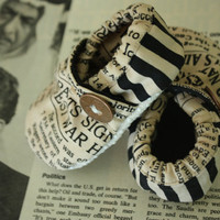 news paper print vintage baby shoes size 018 by elliebeanscloset