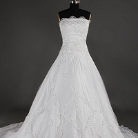 A-line Strapless Sleeveless Cathedral Train Satin Lace Wedding Dress With Applique Paillette Free Shipping