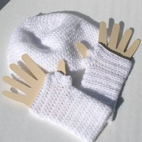 White Sparkle Yarn Hand Crocheted Cap Fingerless Gloves Set