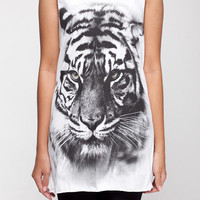 Tiger Shirt Bengal Siberian Tattoo Animal Shirt Women Tank Top White Shirt Tunic Top Vest Sleeveless Women T-Shirt Size S M