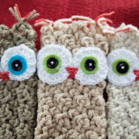 Owl Gloves Handmade cute fingerless gloves with adorable owl face choose your color