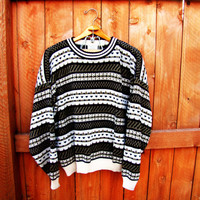 vintage sweater. grandpa sweater. ski sweater.  oversized sweater. size L. unisex