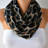 Infinity Scarf Shawl Circle Scarf Loop Scarf Leopard Scarf - Gift -fatwoman