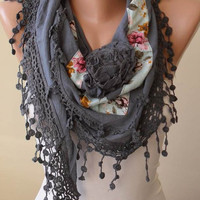 New - Christmas Gift - Gray Scarf with Flowered Fabric and Trim Edge - Triangular