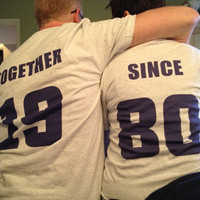 Couples TOGETHER SINCE custom t-shirt set of 2