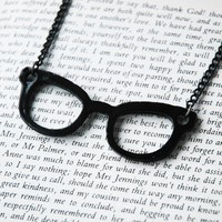 Black Frame Nerd Glasses Necklace