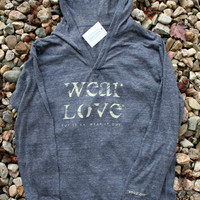 wear Love  put it on. wear it out.  2XL v neck long sleeve pullover hoodie in eco-navy.
