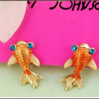 New Cool Betsey Johnson goldfish Crystal earrings Gift&amp;Gift Box