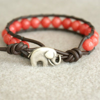Coral Jade Boho beaded leather wrap bracelet,  good luck elephant, 1x wrap bracelet, Chan Luu Style