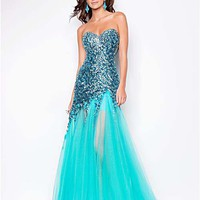 Spearmint Sequin & Tulle Strapless Drop Waist Prom Gown - Unique Vintage - Homecoming Dresses, Pinup & Prom Dresses.