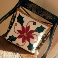 Christmas Poinsettia Pillow Cover Hand Appliqued and Quilted