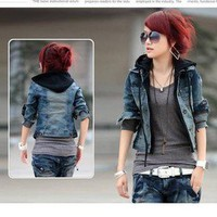 Hoody Blue Jeans Hooded Jean Jacket womens top denim coat #0198