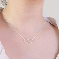Entwined Circles Necklace minimalist sterling silver by petitor