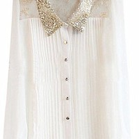 Sequin Button Up Shirt