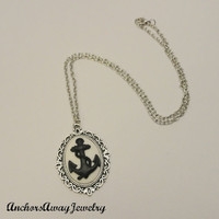 Anchor Cameo Silver Necklace - Nautical Black and White