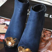 Blue Suede Chunky Heel Ankle Boots Shoes$55.00