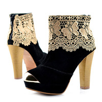 Black Suede Chunky Heel Ankle Boots Shoes$90.00
