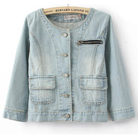 Round Neck Denim Outerwear$44.00