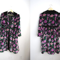 The Velour Floral - Vintage 70s Floral Velvet Bow Swing Coat Babydoll