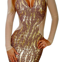 Tone (Cream/Gold)-Great Glam is the web's best online shop for trendy club styles, fashionable party dresses and dress wear, super hot clubbing clothing, stylish going out shirts, partying clothes, super cute and sexy club fashions, halter and tube tops,